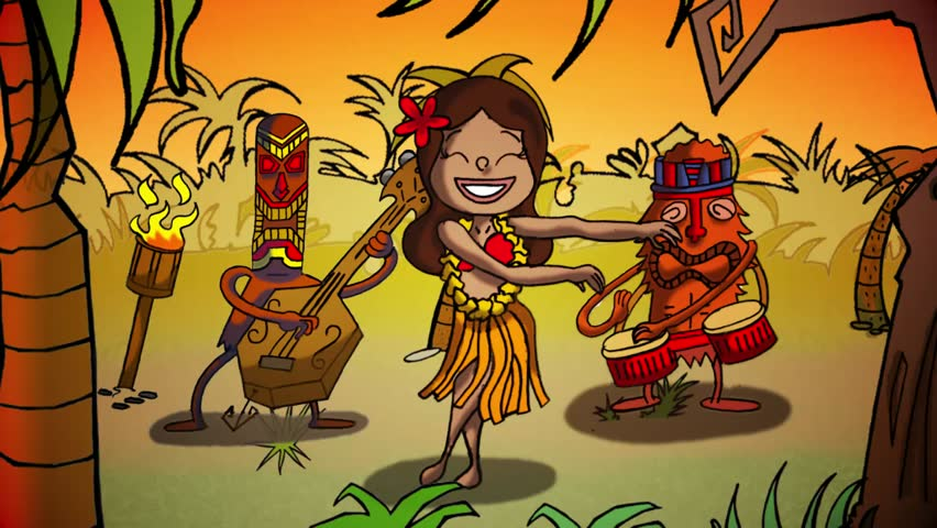 Tiki Polynesia dance animation  loop