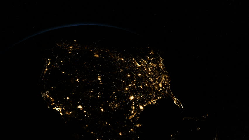 Sunrise over USA. The United States from space. Clip contains earth, usa, us, sunrise, space, night, light, city, map, United States.  #16696399