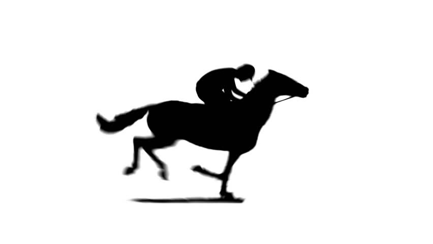 Horse running silhouette with jockey. Seamless loop. black and white matte