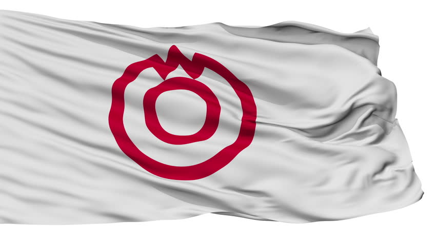 Yamaguchi Capital City Flag, Yamaguchi Prefecture of Japan, Isolated Realistic 3D Animation, Slow Motion, Seamless Loop - 10 Seconds Long