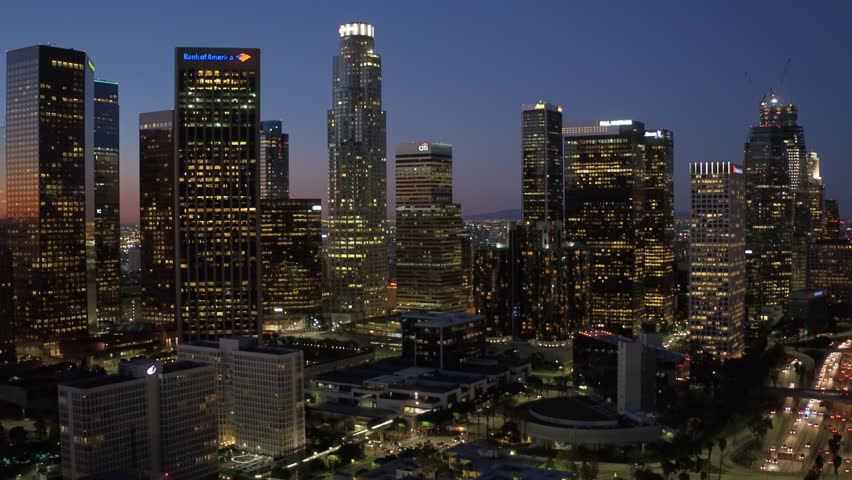 Down Town Los Angeles Sun set Aerial Helicopter View | Shutterstock HD Video #16714099