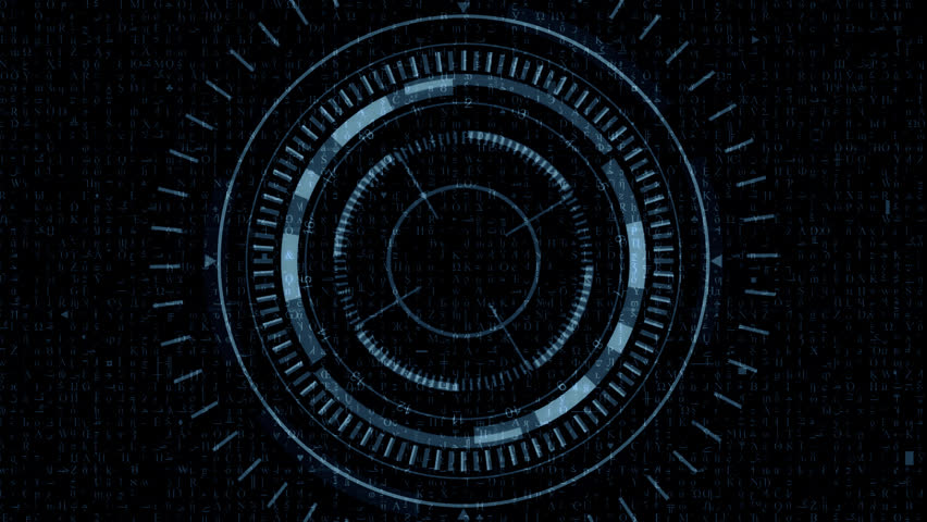Futuristic Hud Target with Computer Data Screen at the end. Good for tech title and background, news headline business intro screensaver.   Shutterstock HD Video #16715137