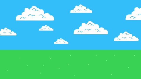 Old Retro Video Game Arcade Clouds Moving on a Blue Sky and Grass