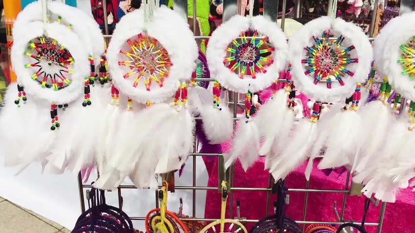 Souvenir dreamcatchers on sale at a market stall