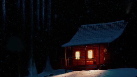 Snow night in the mountain - winter house