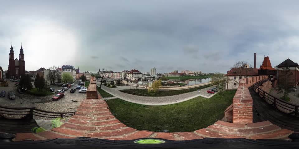 Cathedral Near River, Houses,city Sqare, vr Video 360, Little Planet Video, Video For Virtual Reality, Two Towers of Red Brick Catholic Church Bridge, Time Lapse, City on a River, Bridge, Embankment,