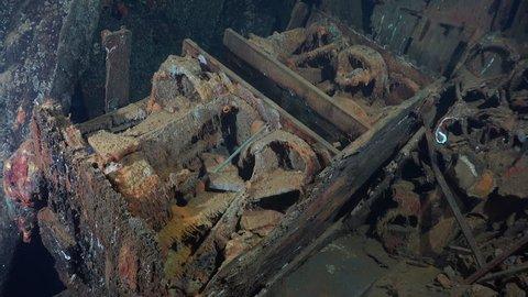 Lot of gilder bombs, inside the Umbria shipwreck - Red sea, Sudan