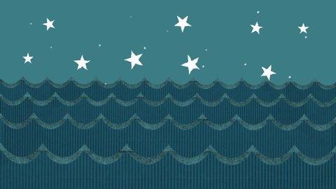 Cardboard Sea Waves on a Cartoon Starry Night Sky Background