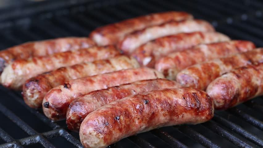 Bratwurst sausages on grill