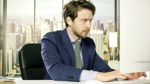 Worried business man in crisis almost crying in office 4K