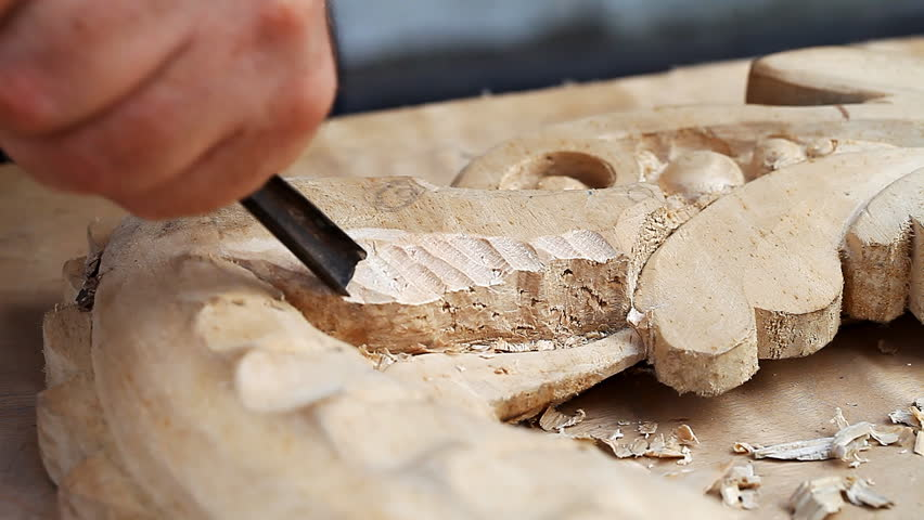 artistic wood carving , close-up, tool   /  carving  tool  close up , artistic wood carving  Full HD