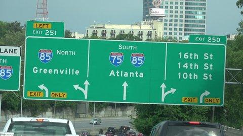 Atlanta traffic signs on highway - ATLANTA / GEORGIA - APRIL 22, 2016