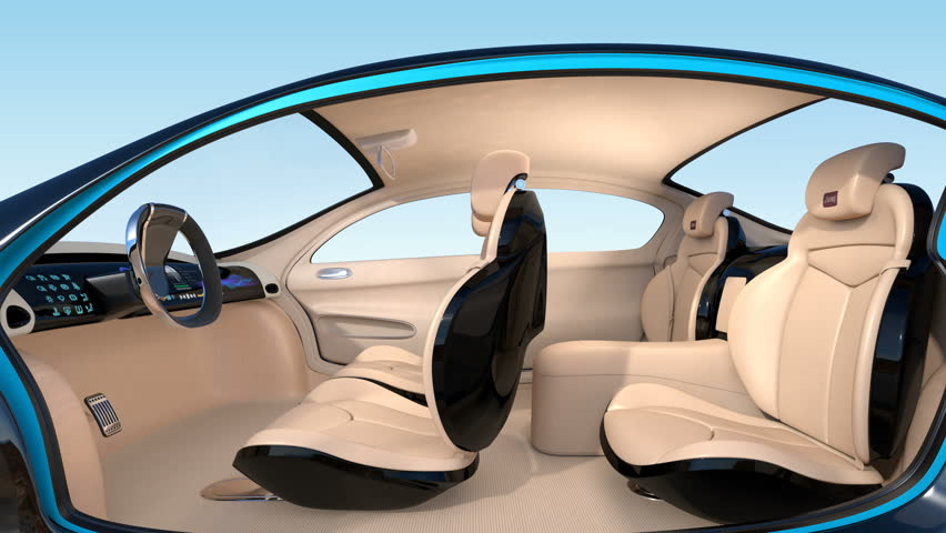 3D animation of autonomous car interior concept. Luxury interior serve cool drink service. Seat backrest equip with LCD monitor for multimedia entertainment.