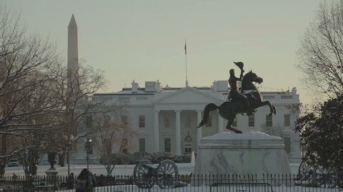 The White House with the Washington Monument in background and Jackson Statue in foreground. Washington DC - USA: January, 2016