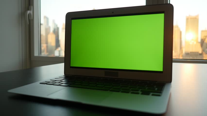 Laptop Computer With Isolated Green Stock Footage Video 100