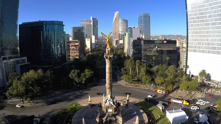 Mexico City - December 13, 2015: Independence Angel Aerial view
