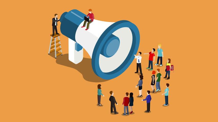Social media promotion online marketing intro flat 3d isometric cartoon video 4K concept. Modern technology communication. Loudspeaker reveal animation micro people listening.