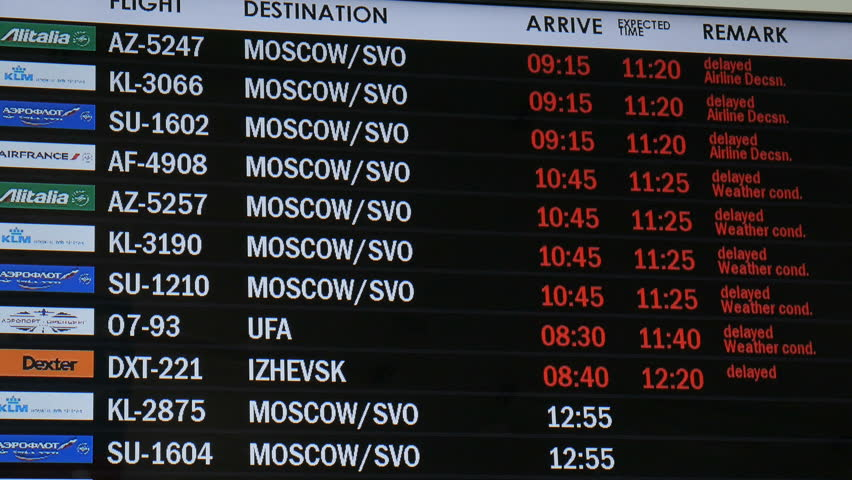 SAMARA, RUSSIA - APR, 2016: timetable in airport, delayed, weather condition 4K | Shutterstock HD Video #16851625