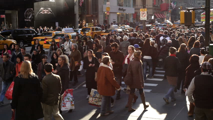 NEW YORK CITY, NY - NOVEMBER 25: Busy Sidewalk Streets of New York City during Black Friday shopping on November 25, 2011 in New York City, New York.