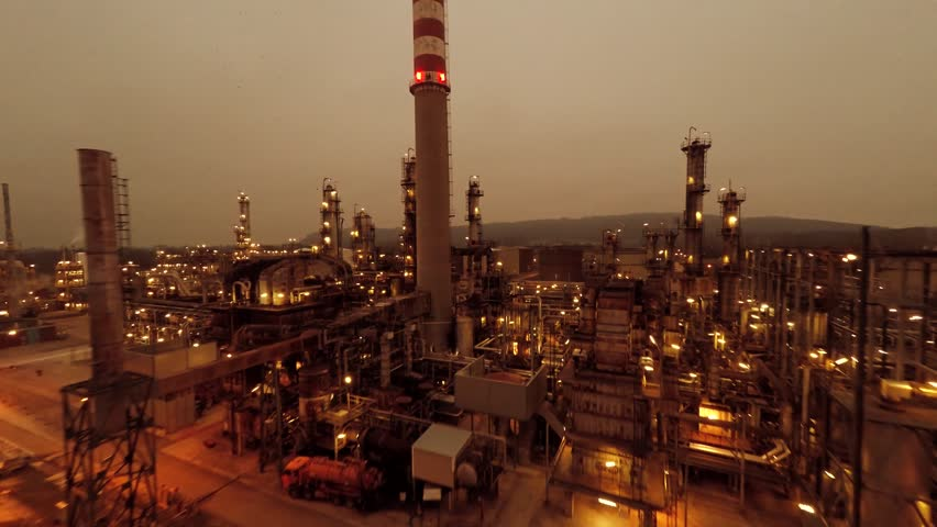 establishment shot of oil refinery station. aerial view of industrial petrol factory. oil and gas industry background