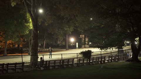 New York, USA - October 03, 2014: USA, New York, New York City, Central Park at night