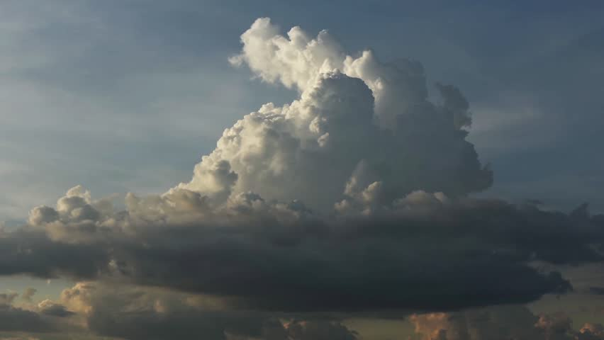 Mavecure, Colombia - February 19, 2015: Time lapse shot of cumulonimbus clouds forming in sky