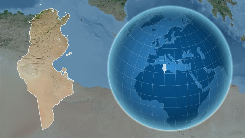Chad Shape Animated On The Satellite Map Of The Globe Stock