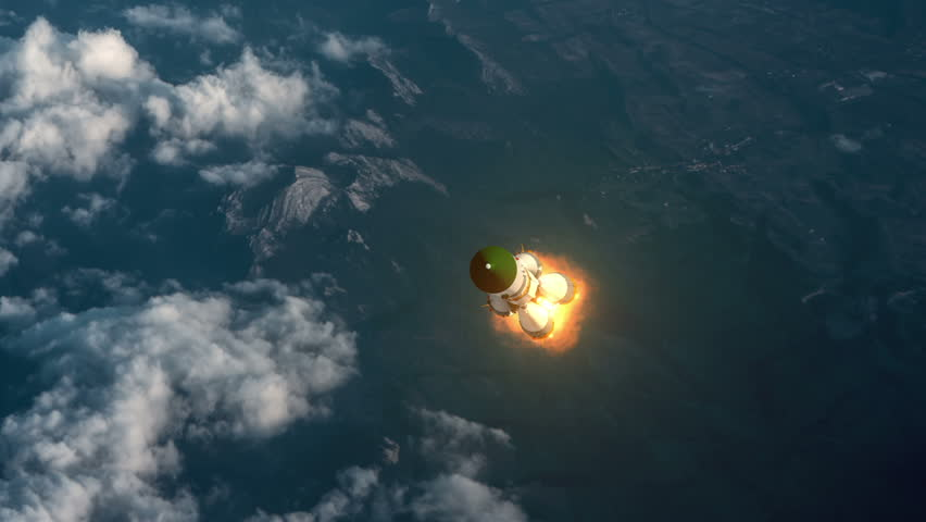 Cargo Carrier Rocket Takes Off Over The Clouds. 3D Animation.
