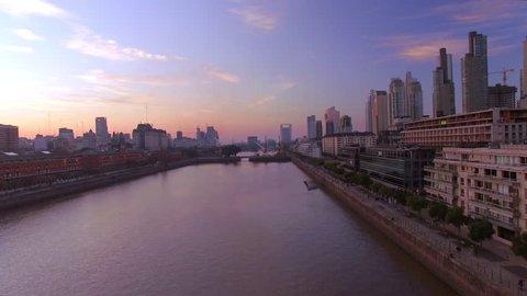 Buenos Aires, Argentina - November 23, 2015: Rio de la Plata coursing through Buenos Aires, Argentina