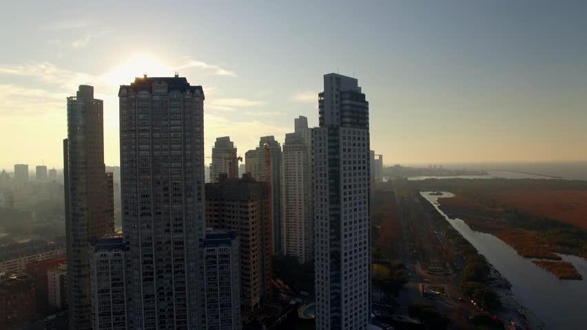 Buenos Aires, Argentina - November 23, 2015: Backlit skyscrapers of Buenos Aires, Argentina