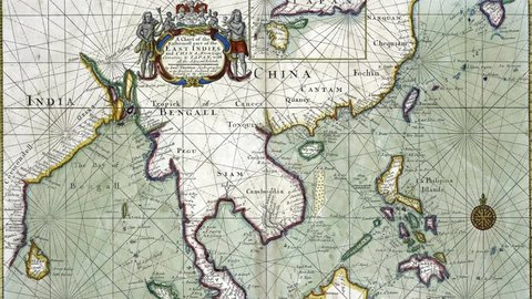 NEW YORK - DEC 15, 2015 - Antique map of the East Indies from India thru China to Indonesia,  from 18th century atlas