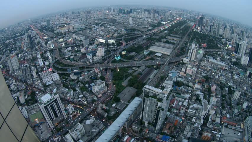 4kTime-lapse : Bangkok Expressway Highway bird eye view at dusk, Thailand #16978609