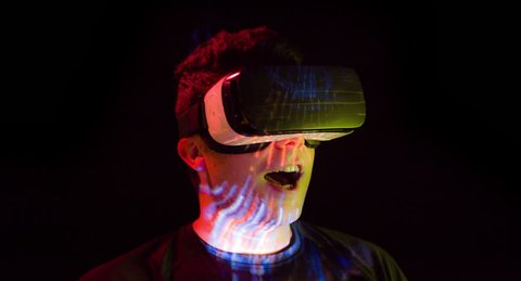 Man Virtual Reality Headset Entertainment Play Game Futuristic Footage Technology Innovation Fun 3D Videogame Device Experience Internet Leisure Device Black Background