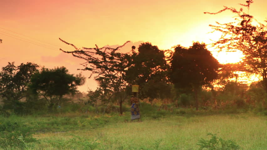 A woman carries water at dawn in a village in Kenya two hours north of the Africa city Mombassa.
