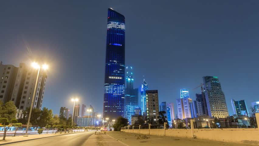 Tallest building in Kuwait City timelapse hyperlapse - the Al Hamra Tower at dusk. Kuwait City, Middle East