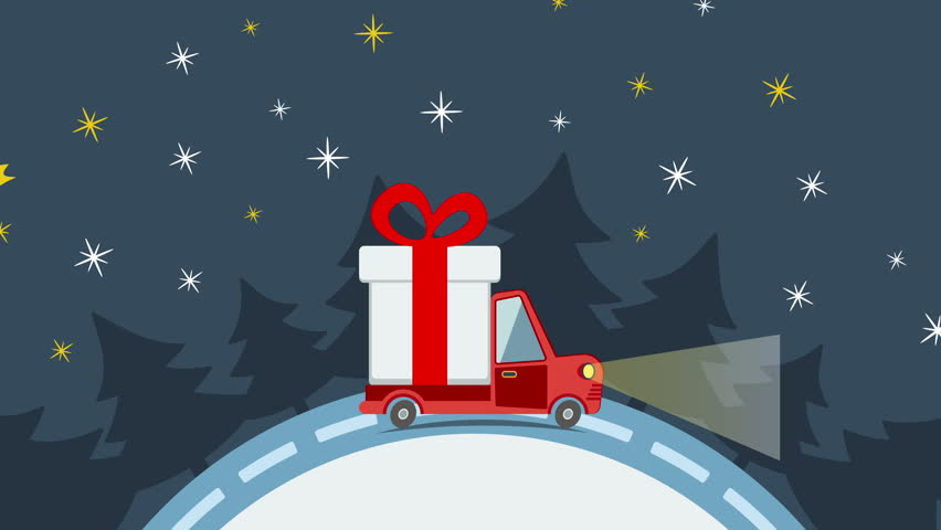 Stock video of christmas and new year animated greeting card with delivery flat transport truck van with gift box pack in xmas eve delivery service m4hsunfo Gallery