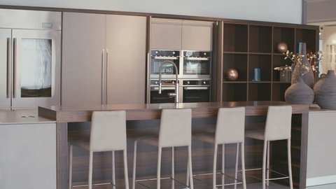 Tracking shot of a luxury kitchen