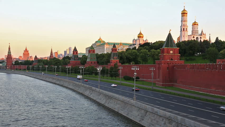 RUSSIA, MOSCOW - JULY 4, 2015: Cars go on the embankment along the Kremlin wall in Moscow | Shutterstock HD Video #17044180