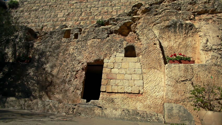 The exterior of the Garden Tomb in Jerusalem, Israel, one of the speculated tombs where Jesus was buried.