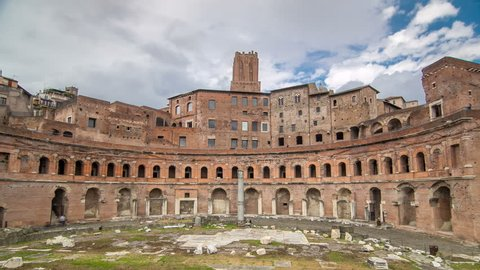 A panoramic view on Trajan's Market timelapse hyperlapse on the Via dei Fori Imperiali, in Rome, Italy