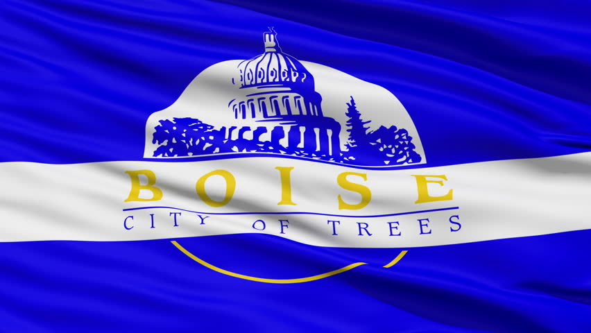 Boise Idaho Waving American State Capital City Flag Animation