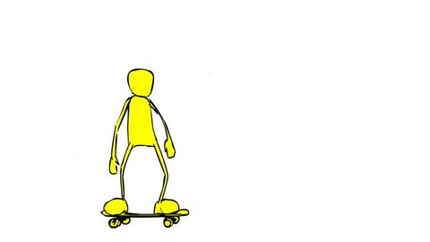 5 different Skateboarding trick animations. Frame by frame drawings.