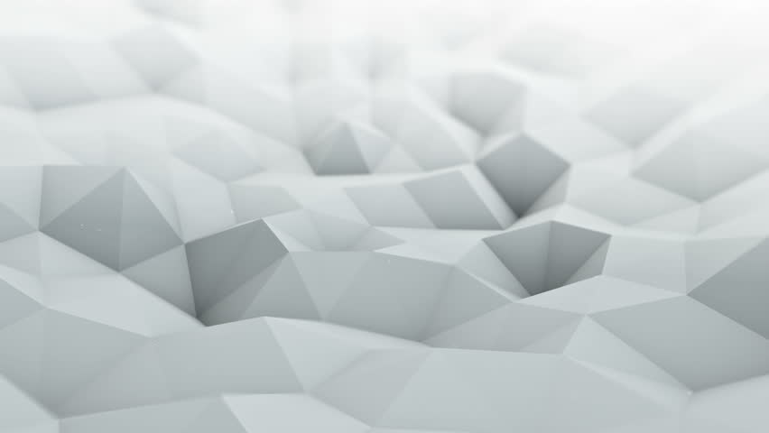 White polygonal surface waving. Semless loop 3D render smooth animation with DOF. Abstract geometrical modern background 4k UHD (3840x2160)