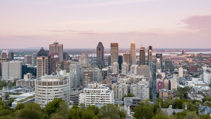 Montreal from day to night. 4K timelapse sequence of the Canada's 2nd largest city, located in the Canadian province of Quebec.