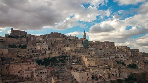 Matera. Timelapse of the stones of Matera, Sassi in Basilicata, Italy with clouds moving