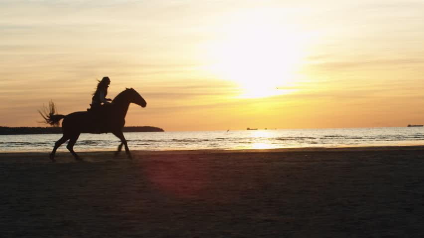 Silhouette of Woman Riding Horse Along Beach Shoreline. Shot on RED Cinema Camera in 4K (UHD).   Shutterstock HD Video #17172682
