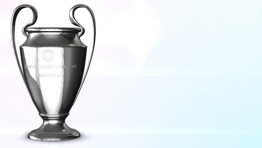 Rotation golden cup for winners of champions league animated Background for sports movie or sports presentations. Animation of seamless loop. Alpha mask included.