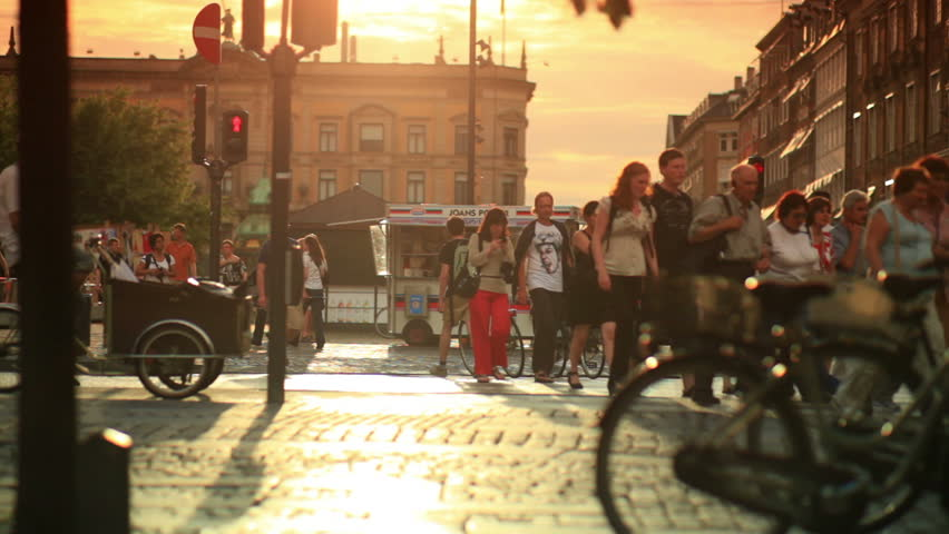 DENMARK - JULY 2010: Street in Copenhagen, Denmark. People, Bicycles.