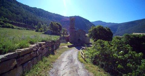 Aerial: medieval/romanesque hermitage