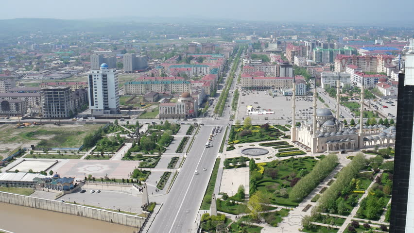 Chechnya Grozny Mosque Heart of Chechnya crossroad static camera view from above Timelapse